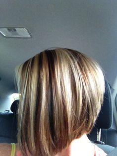 Red hair, blonde highlights, brown lowlights, short bob