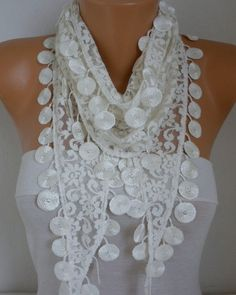 Creamy White Lace Scarf Wedding  scarf shawl gift for her