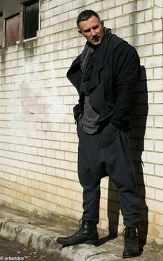 Men's Military Drop-Crotch Pants in Wool Crepe