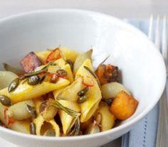 Roast Shallots with Pennoni Regati, Chargrilled Butternut Squash & Pumpkin Seeds
