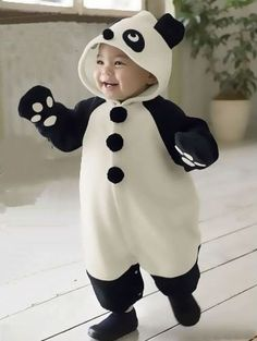 Panda Romper & Mittens Cute Baby Outfit - Cool, Cute & Funky Baby Clothes
