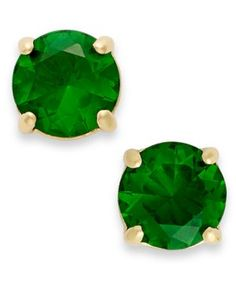 kate spade new york Earrings, 12k Gold-Plated Green Crystal Round Stud Earrings | SoieAgency.com