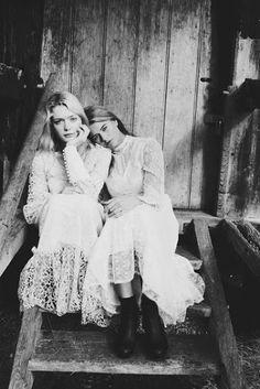 Love   sisters   friendship   siblings   lace   vintage style photography   black white   country feel   friends   steps   barn   beautiful   lean on me   fashion editorial