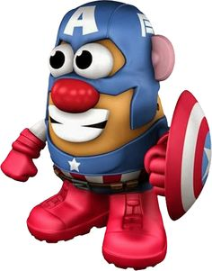 Marvel Comics has been turned into taters. This Mr. Potato Head wields the most famous shield in the world as the First Avenger; Captain America. The 6″ figure is perfect for play or display. A variety of components to mix and match are included, such as Captain America's red, white and blue shield! #Marvel