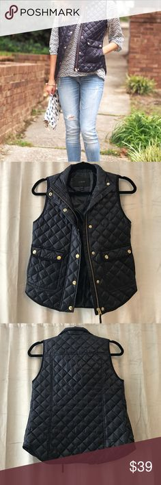 J. Crew Navy Quilted Vest Navy vest with gold detailing. Only worn once. please make an offer because the price is negotiable! J. Crew Jackets & Coats Vests