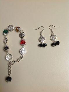 pulsera broche langosta con muranos y aretes diseño de COLOR BEADS