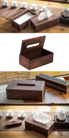 Black Walnut Wood Square Tissue Box Cover Holder