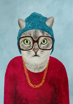 Cat Print, cat art, cat poster, kitty print, kitty poster, cat artwork, cat fine art, surrealist cat, funny cat, cat painting, batman cat