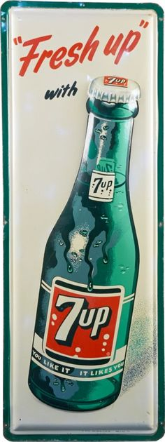 """Fresh Up With 7UP"" Embossed Self Framed Tin Advertisem : Lot 1523"