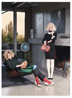 """Melissa Johannsen reads with Emilia Scuza in """"Twin Peaks"""" for Vogue Australia, July Photograph by Nicole Bentley. """"MJ wears Celine silk blouse, silk trousers and shoes, from a selection at. Fashion Tips For Women, Fashion Advice, Womens Fashion, Vogue Australia, Vogue Editorial, Editorial Fashion, Editorial Photography, Fashion Photography, Narrative Photography"""