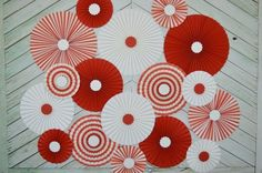 Items similar to Red and White, Vintage Circus, Carousel Inspired Set of Seventeen Paper Rosettes, Paper Fans Backdrop on Etsy Cirque Vintage, Vintage Circus, Flower Crafts, Diy Flowers, Paper Flowers, Ideas Decoracion Cumpleaños, Party Kulissen, Paper Fan Decorations, Diy And Crafts