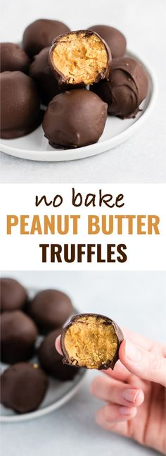 Healthy No Bake Peanut Butter Truffles recipe made with all vegan and gluten free ingredients. A healthier alternative without sacrificing flavor! NO ONE will guess this is a healthy recipe! #vegan #glutenfree #peanutbutter #nobake #dessert
