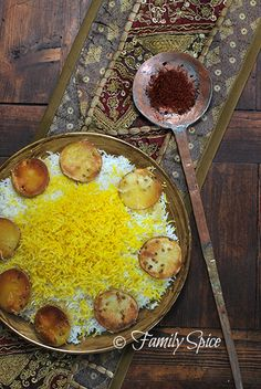 Delicious Persian Rice Recipe w/ Potato Crust. See video recipe here: http://www.youtube.com/watch?v=7hHzsNh8HmI