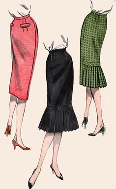 1950s Butterick 8792 ROCKIN Wiggle Skirts with or without Flounce Firecracker Flounce Vintage 50s Sewing Pattern Size 24.5