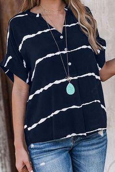 Navy Blue Striped Folded Short Sleeve Shirt – ModeShe.com #shirt