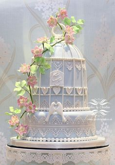 Birdcage, lace and briar rose wedding cake