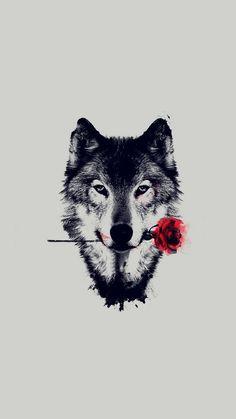 Wolf Red Rose Art Wallpaper iPhone - Best iPhone Wallpaper
