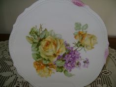 VINTAGE CHINA PLATE Purple Yellow Roses Violets by FamilyandFaith,