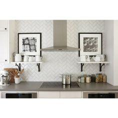 kitchens - Silestone Grey Expo subway tiles backsplash herringbone pattern white shelves flanking cooktop black white photo gallery Ikea kitchen cabinets