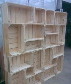 Behind bar crate shelving