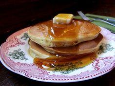 egg nog pancakes. Makes 10 pancakes. 171 calories, 5g fat per pancake no butter.