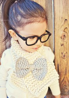 DIY a knit bow scarf for your little one.