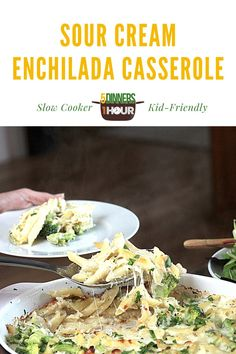 Slow Cooker Sour Cream Enchilada Casserole - 5 Dinners In 1 Hour Easy Healthy Recipes, Easy Dinner Recipes, Delicious Recipes, Tasty, Slow Cooker Recipes, Cooking Recipes, Cooking Time, Crockpot Recipes, Penne Recipes