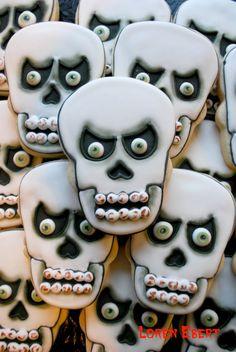 Scariest Skull Cookies EVER! by Loren @ The Baking Sheet   www.thebakingsheet.blogspot.com  I'm on Facebook too:  The Baking Sheet
