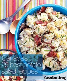 Canada's best potato salad recipes - make a few for your Canada Day party! Summer Recipes, Great Recipes, Favorite Recipes, Vegetarian Side Dishes, Veggie Dishes, Canada Day Party, Best Potato Salad Recipe, Summer Salads, Grilling Recipes