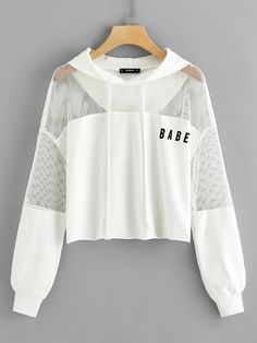 Fishnet Insert Raw Hem Drawstring Hoodie Uncategorized is part of Teen fashion outfits - Teen Fashion Outfits, Fashion Mode, Swag Outfits, Cute Fashion, Outfits For Teens, Trendy Outfits, Korean Fashion, Girl Outfits, Fashion Clothes