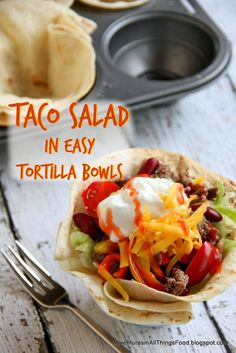 Adventures in all things food: Taco Salad Time! Make it Fun with Good Cook inspired Tortilla Bowls. These bowls are very easy to make!