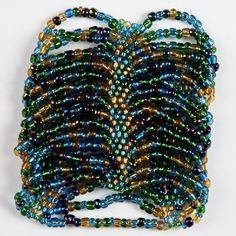 """Cuff Bracelet - """"Peacock"""" - Beaded Stretch Style, Indonesian"""