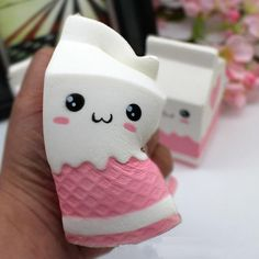 squishies Release Stress Milk Bag Scented Slow Rising Toy kawaii Charms Soft Squishy by Originnt Toys For Girls, Kids Toys, Balle Anti Stress, Cute Squishies, Party Favors For Adults, Slime And Squishy, Pink Milk, Milk Box, Puzzle Toys