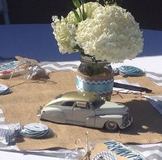 Vintage Car Baby Shower. Using chevron stripes.