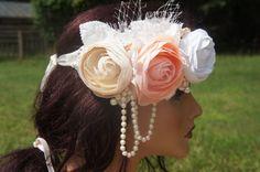 Bridal Flower Wreath Headband, Venice Lace Headband, Boho, Halo, Woodland, Pearl/Peach/White/Ivory/Champagne Vintage Headband, Vintage Bride