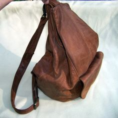 70s brown leather hobo bag hippie goods by pinehaven2 on Etsy, $38.50