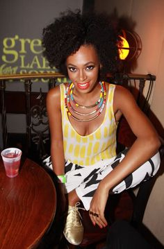 Solange-I really like her style. You can't compare her to Beyonce, she's her own person.