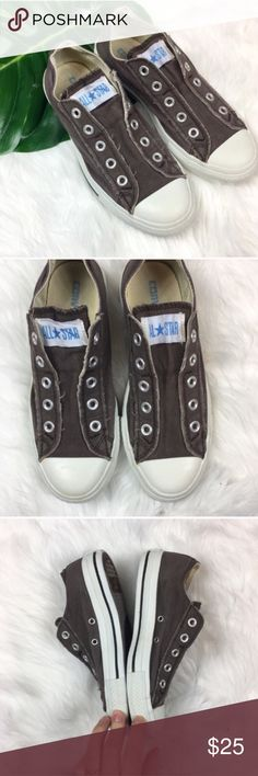 Converse All Star Slip On Low Tops Converse All Star Slip On Low Tops. Size women's 6 men's 4. Pre-owned condition with some wear and fading. They were recently washed. No box. Still has plenty of life left! They are a greyish brown color. ❌I do not Trade 🙅🏻 Or model💲 Posh Transactions ONLY Converse Shoes Sneakers