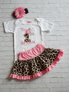 Giraffe Print  Baby Girl First Birthday Outfit / Giraffe Print