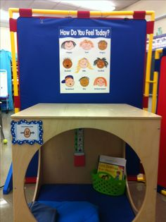Cool down area- We all get frustrated and angry sometimes, especially when we have to work with people in groups like school. You can't walk out of the classroom so I like the idea of a little hideaway nook to cool down until you feel better.