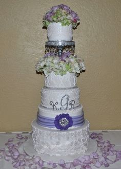 Lace+ Crystals-5 tier wedding cake-The Cake Zone, www.thecakezone.com