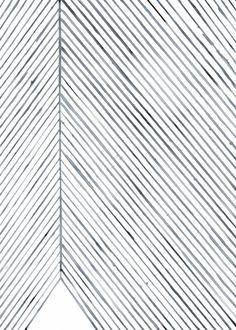 Silke Bonde, Leaf Lines (Blue) - THE POSTER CLUB
