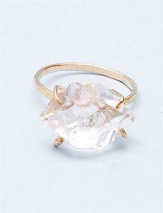 Melissa Joy Manning Large Herkimer Diamond Ring- Gold