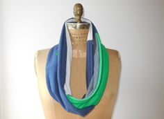 T Shirt Infinity Scarf / Green Gray Navy Blue / Ireland / by ohzie