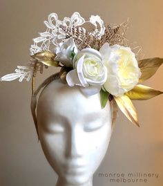 Yellow & Gold Lace Floral Fascinator