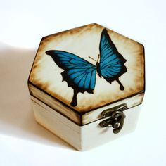 This beautiful butterfly box is available in 3 sizes. The drawing is made using woodburning tools, protected with varnish, and polished with the finest sand paper. A great gift for any occasion, be it birthday, Christmas, Mothers day, anniversary, or graduation. Butterfly Gifts, Blue Butterfly, Wooden Jewelry Boxes, Wooden Boxes, Sand Paper, Fine Sand, Woodburning, Beautiful Butterflies, 3 Things