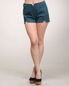 Cheryl says: The easiest way to make your shorts stand out in a crowd of other shorts is to have some special details. And nothing is cuter than a nice petal design like the one seen here. These solid teal shorts have a petal cut design on the front that is sure to spice up your look. They also feature a zipper closure. Shorts Sale, Weekend Sale, Fashion Tips, Fashion Design, Fashion Trends, Boutique, Womens Fashion, Zipper