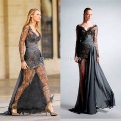 Gossip Girl Blake Lively Sheath V Neck Beaded Chiffon/Lace See through Evening Dress 2015 Zuhair Murad-in Evening Dresses from Weddings & Events on Aliexpress.com | Alibaba Group