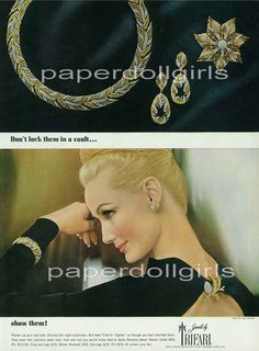 """1963 - TRIFARI - ADS - """"Egrets Collection"""" -'Don't lock them in a vault... show them!'' Plaster up your wall safe. Dismiss the night watchman. But wear Trifari's """"Egrets"""" as through you had inherited them. They have that precious-jewel lock. And who but you would know they're really fabulous fakes! Above: Collar $40;Pin $12.50. Drop earrings $15. Below: Bracelet $30. Earrings $10. Pins$15. All prices plus tax. And Harper's Bazaar"""