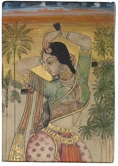 Dancing Girl Object Name: Single work Date: Late 17th century Geography: India, Deccan Culture: Islamic Medium: Ink, opaque watercolor, and gold on paper Dimensions: Image: H. 4 1/16 in. (10.3 cm) W. 2 7/8 in. (7.3 cm) Framed: H. 21 7/16 in. (54.5 cm) W. 17 11/16 in. (45 cm) Classification: Codices Credit Line: Dr. Daniel Vasella, Risch, Switzerland